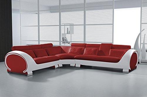 SAM Ecksofa Vigo Combi 4, rot/weiß, Couch aus Kunstleder, 266x303 cm rechts