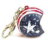 Llavero de casco de moto vintage, diseño de la bandera americana (Multicolor) - Porte clé casque moto vintage