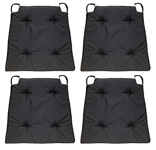 sleepling 4er Set Stuhlkissen/Sitzkissen für Indoor und mit Klettverschluss, Maße: 42 (vorne) / 35 (hinten) x 40 x 5 cm, schwarz
