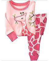 Tkala Girls Pajamas Children Clothes Set Deer 100% Cotton Little Kids Pjs Sleepwear (4T, 3-Pink)