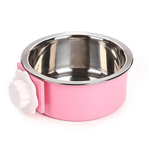 NaiCasy Crate Hundenapf Abnehmbarer Edelstahl Cup Coop hängen Pet Käfig Wasser Feeder Bowl Malaya Futtermittel für Hunde Katzen Kaninchen Vögel (pink) Kleine Waren für Haustiere