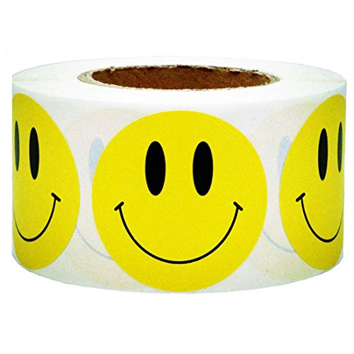 """SMARSTICKER Yellow Smiley Face Happy Stickers 2"""" Inch Round Circle Smile Face Stickers Roll Teacher Reward Labels 500 Total Smiley Stickers Target Repair Dots"""