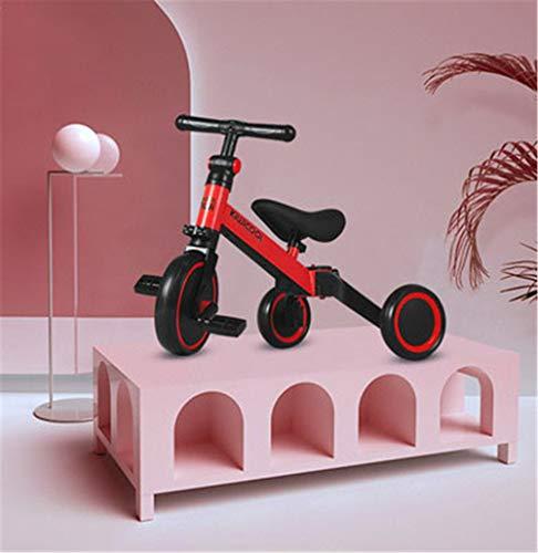 Triciclos para Niños 5 en 1 Un Bici polivalente Triciclo Bicicleta Carro de Equilibrio Caminante 2.8kg Ligero y portátil Adecuado para niños de 1.5-4 años Princesa roja,Red
