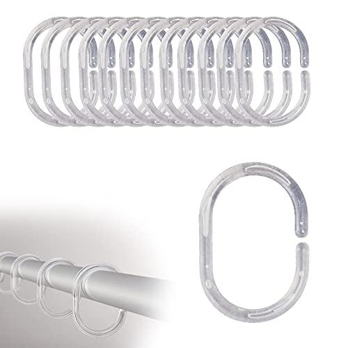 FeJu Duschvorhang Ringe | 24 Stück| Transparent | Kunststoff | Duschvorhangring für Duschvorhangstangen, Ringe für Duschvorhang (Transparent, Kunststoff)