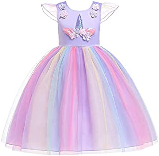 Baby Girls Rainbow Unicorn Tutu Dress Princess Fancy Dress Birthday Pageant Party Dresses Girls Christmas Halloween Pony Dreams Princess for Baby Girls & Kids for 3-12 Y,With Headband