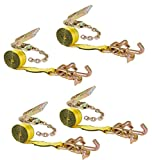 Mytee Products (4 Pack) 2' Chain Ratchet Straps w/RTJ Tie Down Roll Back Tow Truck Car Hauler