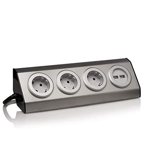 Edelstahl Eck-Steckdose, silber, Schuko, USB, für Küche, Büro. Steckdosenleiste 45° Aufbau-Montage ideal für Arbeitsplatte, selbstklebend, Edelstahl:3x. 2 USB + 1.5m Kabel