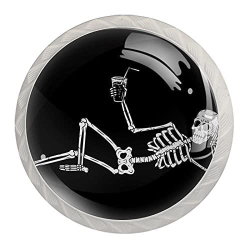 Divertente scheletro, pomello di alta qualità, per cassetto, armadietto, 4 pezzi per ufficio, casa, cucina, bagno, credenza