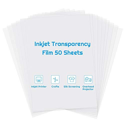 Inkjet Transparency Paper Sheets, Anezus 50 Pack Printable Transparent Film...