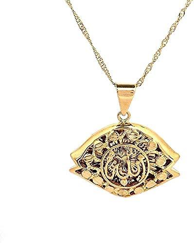ZJJLWL Co.,ltd Collar Color Dorado Islam Alá Collares Pendientes para Hombres Mujeres árabes Collar de joyería Musulmana
