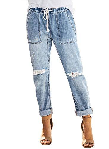 Uusollecy Damen Boyfriend Lochjeans Elastischer Kordelzug Die Stylische Ripped Jeans Taschen Hoher Taille Gerades Hosen,A-hellblau, XL