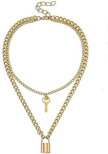 LDKAIMLLN Co.,ltd Collar Mujer Hombre Colgante Collar Vintage Geométrico Collar Mujer Lock Colgante Collar Joyería