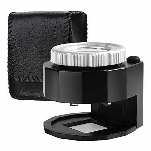 Loupe Magnifier 30X Aluminum Alloy Magnifier Illuminated Adjustable Focal Length Desktop Magnifier with 6 Lights for Jewelry Textile Optical Currency Coins Stamps Circuit Board Gems