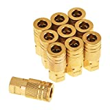 SUNGATOR 1/4-Inch Brass Female Industrial Coupler, 10-Pack NPT Female Quick Connector Air Coupler with Storage Case