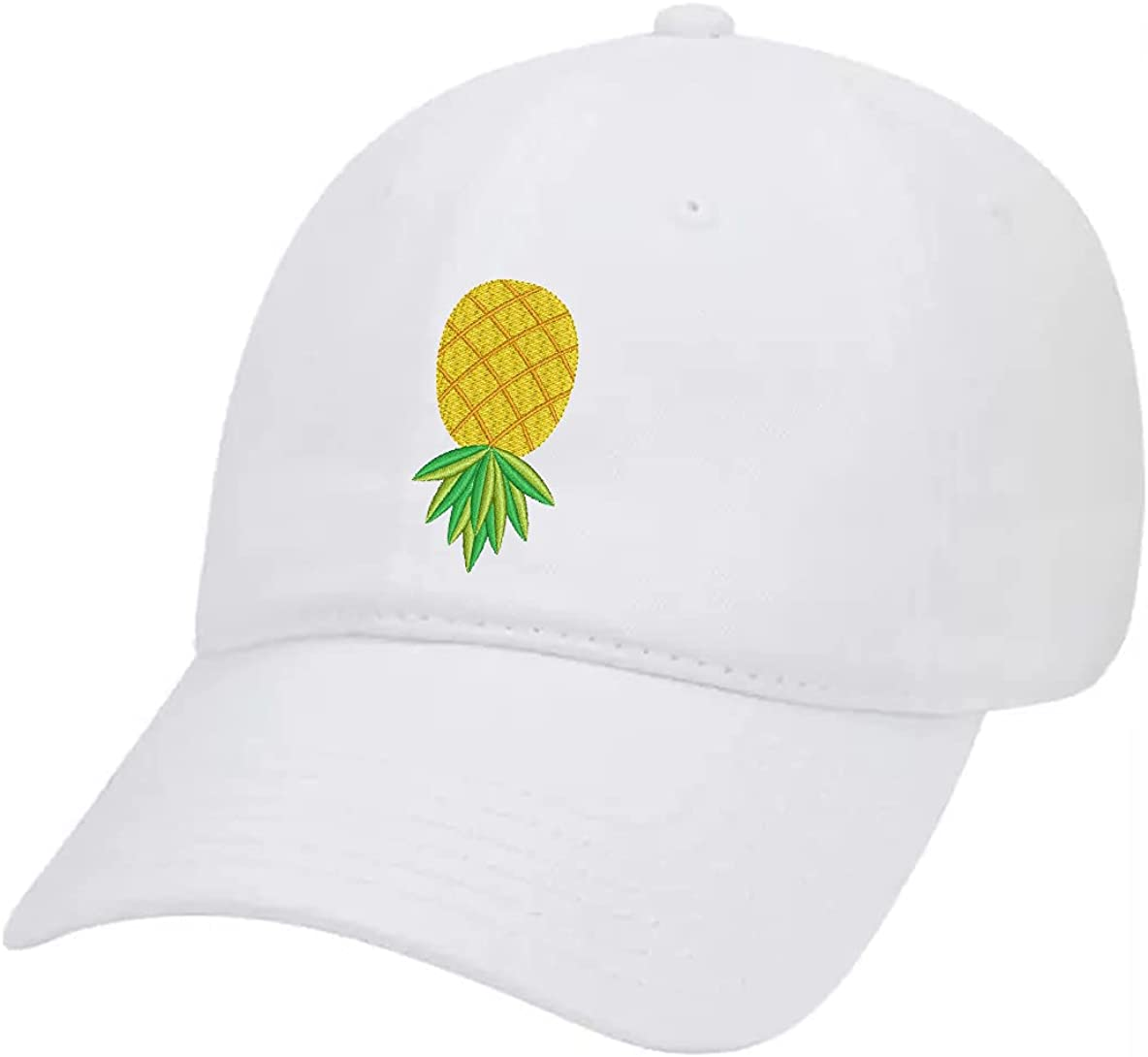 Trenz Shirt Company Upside Down Pineapple Embroidered Twill Baseball Cap Unisex Dad Hat with Adjustable Metal Buckle Back