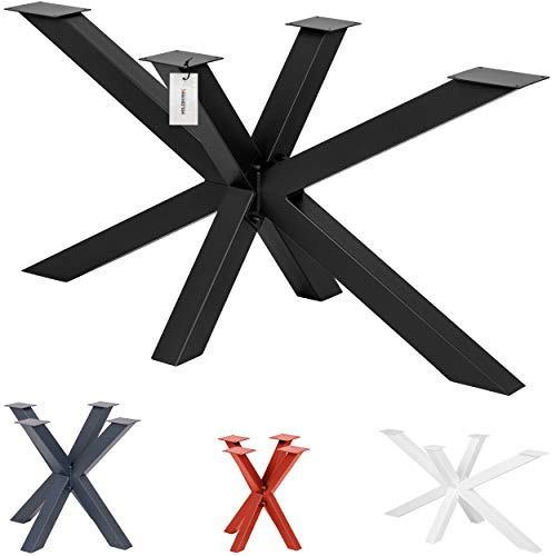 HOLZBRINK Tischbeine aus Metall, Tischgestell für Esstisch Küchentisch Konferenztisch, 85x80x72 cm (LxBxH), Schwarz, 1 Stück, HLT-19-J-FF-9005
