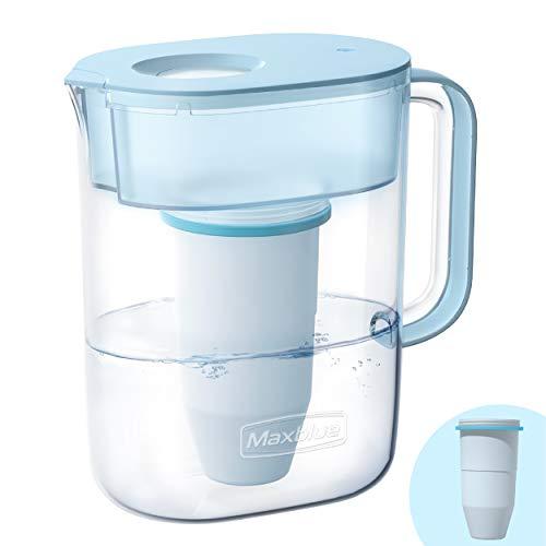 Maxblue Carafe Filtrante d'eau 3.5L avec 1 Filtre, Zéro 0 TDS, Système de Filtration en 6 Étapes, Réduit Le Plomb, Le Fluorure, Le Chlore et Plus, sans BPA, Bleu, Modèle: MB-PT-08B