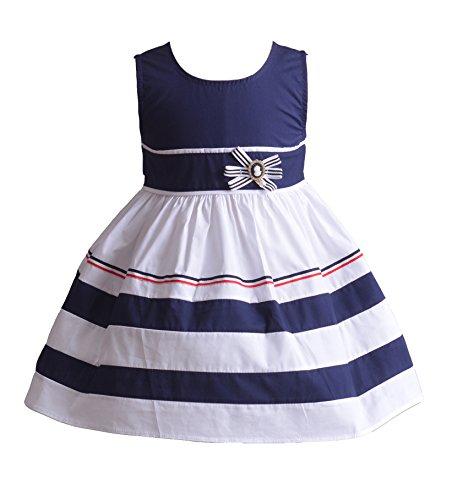Cinda Robe de soirée en Coton Fille Melina Bleu 6-9 Mois