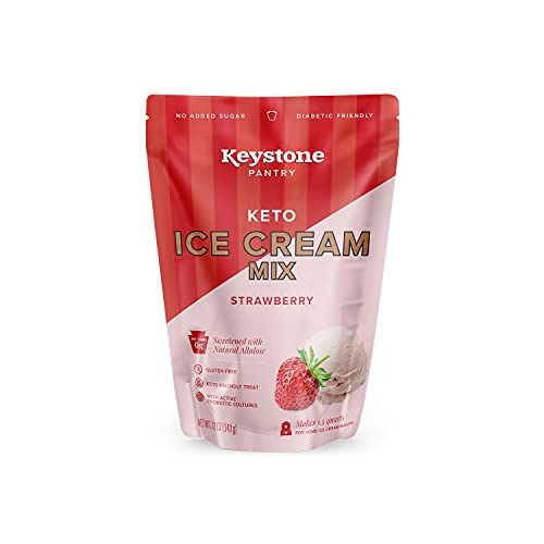 Keystone Pantry Keto Ice Cream Mix Strawberry No added Sugar Diabetic Friendly Gluten Free Kosher Dairy With Active Probiotic Cultures Sweetened with Natural Allulose