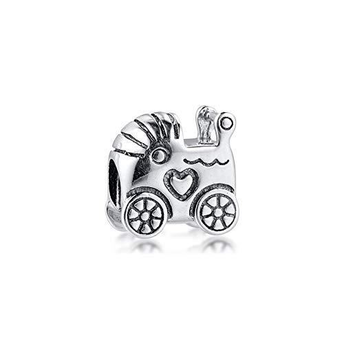 LIIHVYI Pandora Charms para Mujeres Cuentas Plata De Ley 925 Cochecito De Bebé Argent Pram DIY Jewelry Compatible con Pulseras Europeos Collars