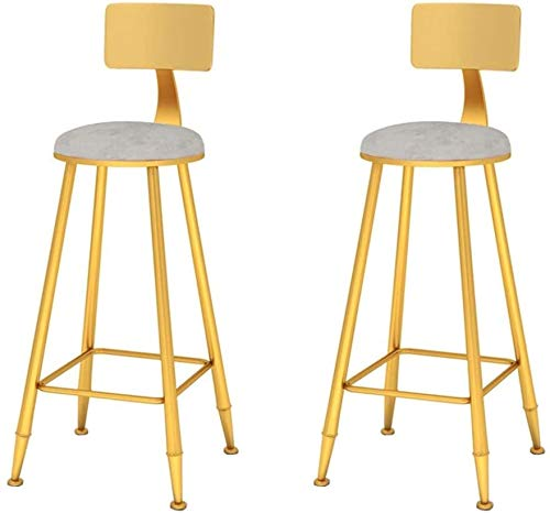 SYLOZ Silla de Bar, cafetería, Restaurante Silla, Juego de 2 Piezas Barstools Arte del Hierro Silla de Comedor con Las piernas del Metal y cojín de Terciopelo (Color : A, Size : 65cm)