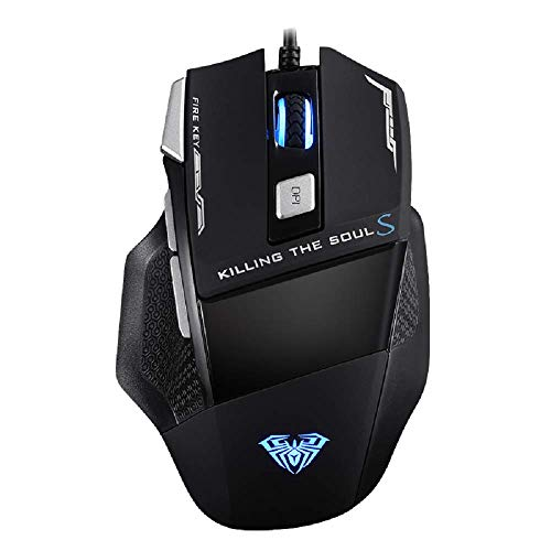 Wired Mouse for Laptop, Mini USB Optical Computer Gaming Mice with 7 Programmable Buttons, RGB Backlit, 4800 Adjustable DPI, Ergonomic PC Gamer Little Mouse for Windows 7/8/10/XP Vista Linux - Black