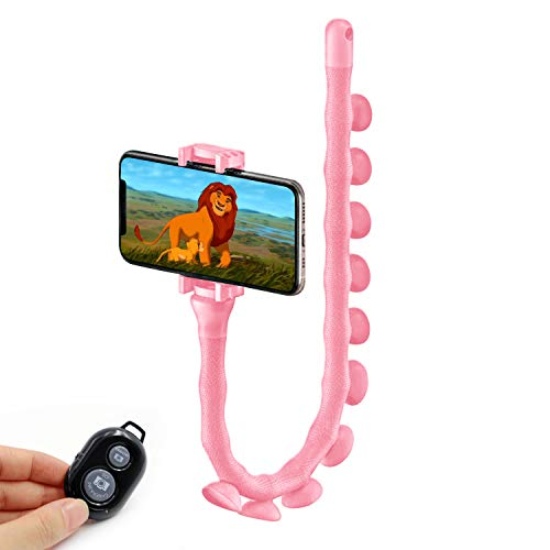 Cute Carton Cell Phone Holder, Worm Shape, Flexible, Bendable. 360 Mount with 10 Powerful Suction Cups. (Pink)