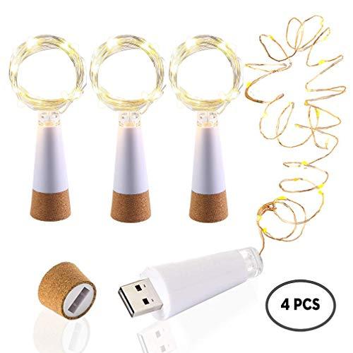 KOBWA 59zoll Flaschen-Licht Weinflasche Lichter mit Kork korken USB Kupferdraht Bunte Fee Mini String Lichter für DIY Party Decor Weihnachten Halloween Hochzeit (4 Stück)