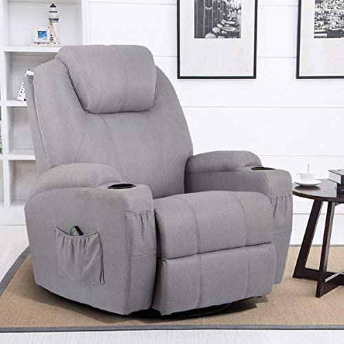 Best Esright Grey Fabric Massage Recliner Chair 360° Swivel Heated Ergonomic Lounge Reclining Chair
