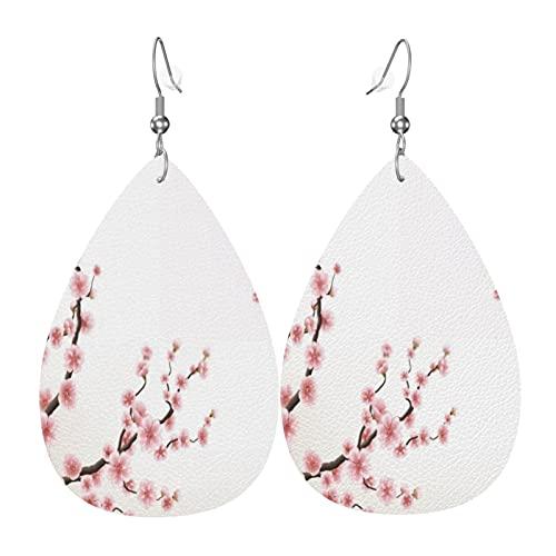 Cherry Tree lichtgewicht lederen oorbellen voor vrouwen meisjes bungelende drop oorbellen