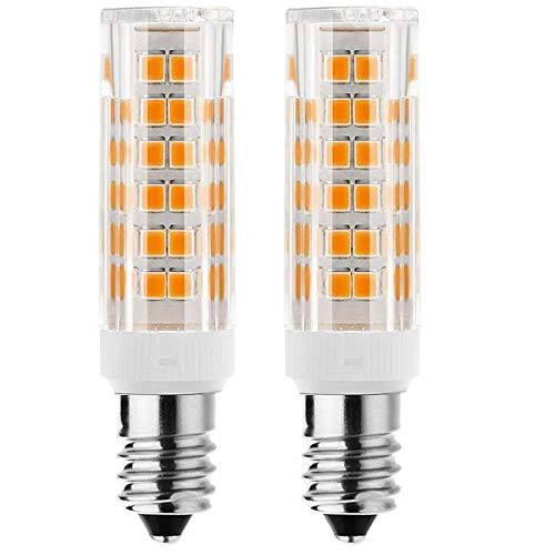 E11 led Bulb 75w 100w Halogen Bulbs Replacement, JD T4 e11 Mini Candelabra Base 110V 120V 130 Voltage Input Light Bulbs, Pack of 2 (Warm White 6W)