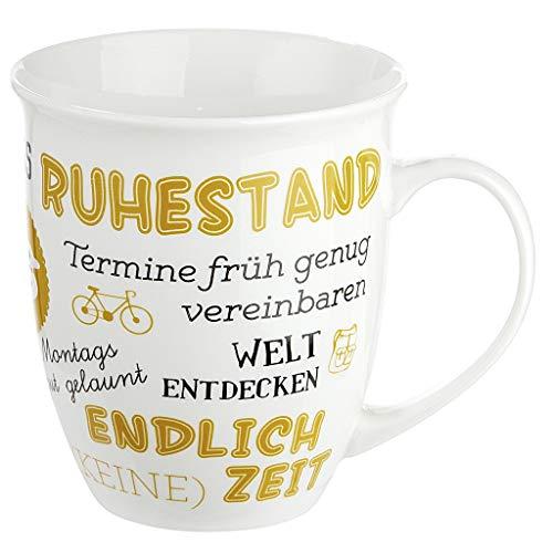 GILDE Porzellan Jumbo-Tasse mit Spruch zum Ruhestand, Geschenke für Rentner