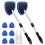 AstroAI Car Window Cleaner, 8 Reusable and Washable Microfiber Pads, Windshield Cleaning Tool with Telescopic and Extendable Handle Auto Inside Glass Wiper Kit, Blue, 2 Pack