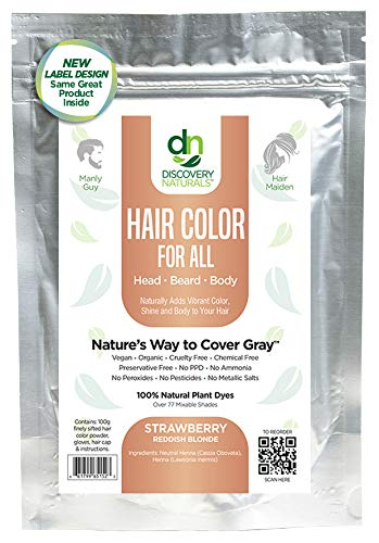 Hair Color For All Natural Hair Dye For Men & Women I 100% Natural & Chemical-Free Pure Hair & Beard Color, Strawberry Reddish Blonde
