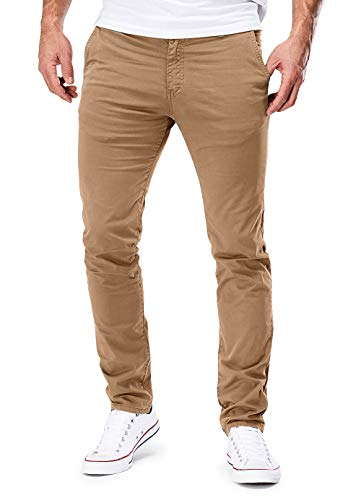 Merish 401 Pantalon Chino, slim, extensible, pour homme - Marron - 32W x 32L