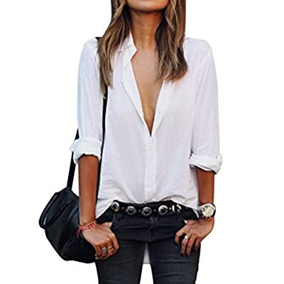 Ezcosplay Women's OL Long Sleeve Casual Shirt Tops Button Down Blouse Slim Fit White