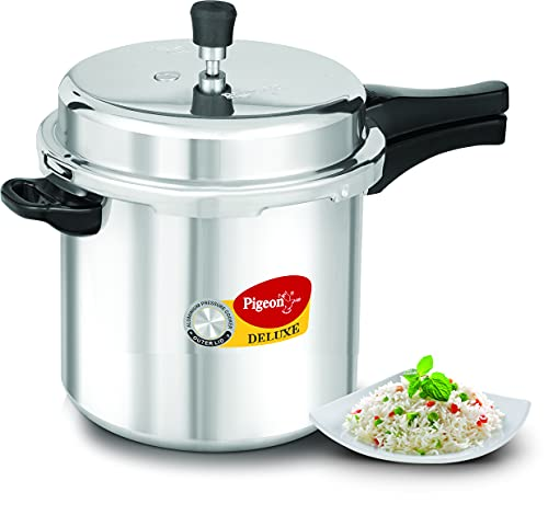 Pigeon by Stovekraft Deluxe Aluminium Outer Lid Pressure Cooker without Induction Base, 10 Litres