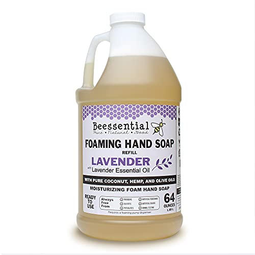 Beessential All Natural Foaming Hand Soap Refill Bulk, 64 oz Lavender | Made with Moisturizing Aloe & Honey - Made in the USA