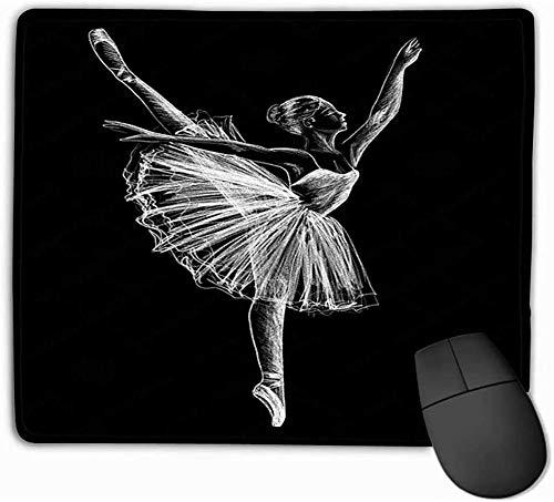 N/A Mouse Pad Ballerina Ballerina Tekening Krijt Zwarte Achtergrond Rechthoek Rubber Mousepad 25 * 30Cm