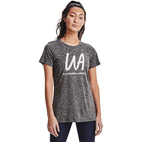 Under Armour Women's Tech Twist Script Short-Sleeve Crew Neck T-Shirt , Charcoal Medium Heather (019)/White , XX-Large