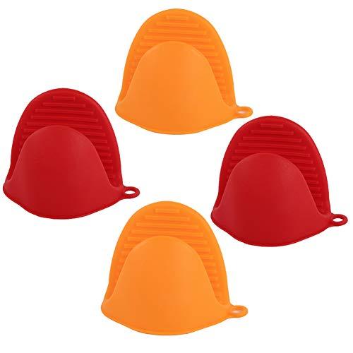 XQxiqi689sy Haushaltshandschuhe, verdicktes Silikon, hitzewiderstandsfähig, 2 Paar Einheitsgröße Rot-Orange