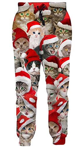Goodstoworld Funky Sweatpants Casual Comfy Joggers Pants Novelty Ugliest Christmas Cats Graphic Sweatpant 3D Sports Outdoors Tracksuit Clothing