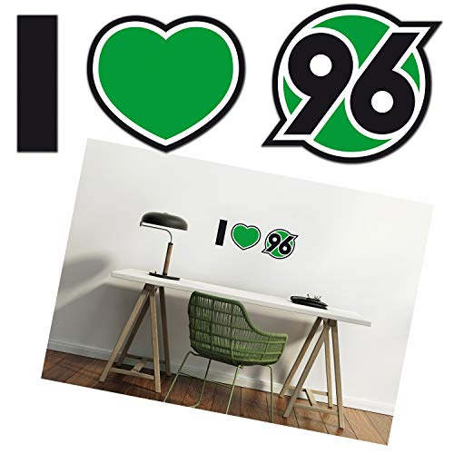 Hannover 96 Wandtattoo - I Love 96 - Wandsticker, Wand Dekor H96 - Plus Lesezeichen I Love Hannover