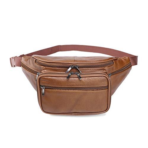 Genuine Cowhide Leather Large 7 Pocket Waist Pack with Organizer, Card Slots (Cowhide Brown)