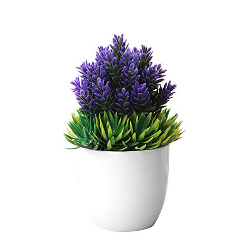WillowswayW Artificial Potted Plant Fake Bonsai Home Office Hotel Table Simulation Decor - Purple