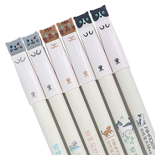 12 Pieces Cute Cat Pen 0.38 mm Gel Pens Black Ball Point Pens for School Office Supplies