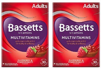Bassetts Multivitamins Raspberry & Pomegranate Flavour Soft & Chewies Adult - 30 x2 Bundle (Total 60 Pastilles)