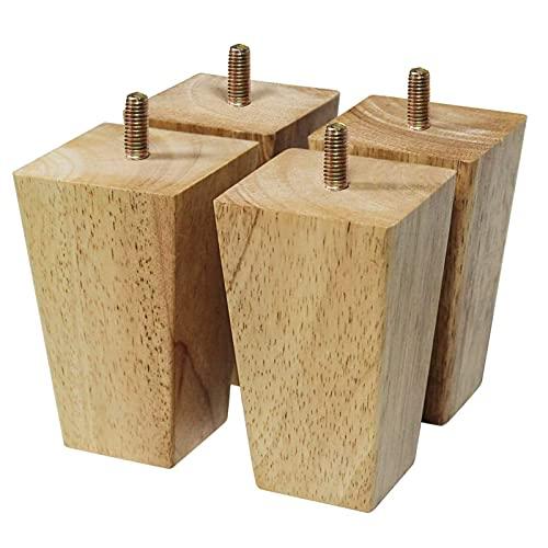 Juego de 4 patas de muebles de repuesto de madera patas de muebles patas de muebles patas de sofá de madera patas de mesa espacio madera maciza color roble para sillas armario de cama (tamaño: 150 mm)