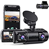 3 Channel Dash Cam Built-in WiFi GPS, 4K+1080P Dual Dash Cam, 1440P+1080P+1080P Front Inside/Cabin Rear Triple Dash Camera Driving Recorder for Car w/IR Night Vision Parking Mode Loop Recording WDR