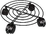 HCFSUK Soporte Negro para macetas con Ruedas giratorias de fácil Movimiento, Carrito de Metal para Plantas, macetero móvil Redondo para Herramientas de jardín de Interior y Exterior